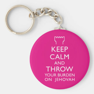 Keep Calm and Throw your burden on Jehovah Basic Round Button Key Ring