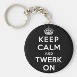 Keep Calm and Twerk On Basic Round Button Key Ring