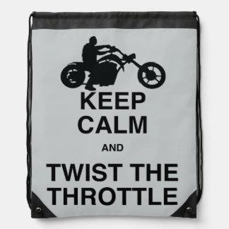 Keep Calm and Twist the Throttle - Chopper/Harley Drawstring Bag