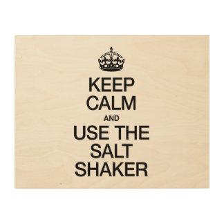 KEEP CALM AND USE THE SALT SHAKER WOOD CANVAS