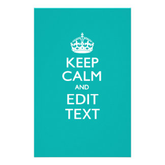 Keep Calm And Your Text Peacock Turquoise Accent 14 Cm X 21.5 Cm Flyer