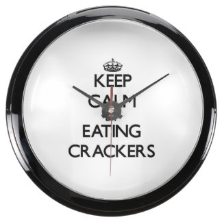 Keep calm by eating Crackers Aqua Clock