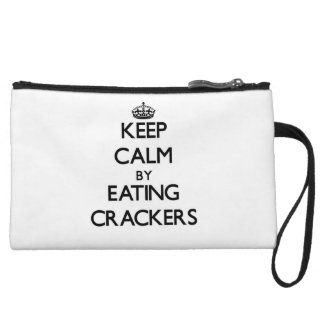 Keep calm by eating Crackers Wristlet Purse