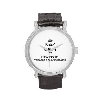 Keep calm by escaping to Treasure Island Beach Flo Wrist Watch
