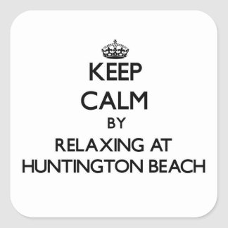 Keep calm by relaxing at Huntington Beach Virginia Square Sticker