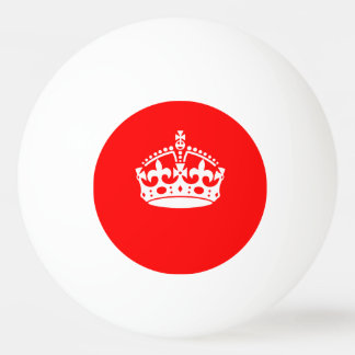 KEEP CALM CROWN on Red Customise This Ping Pong Ball