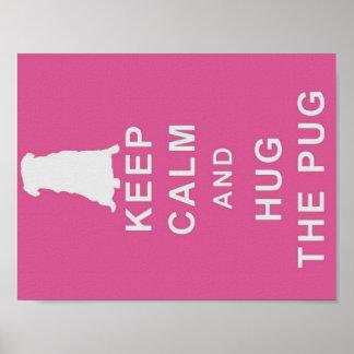 KEEP CALM HUG THE PUG POSTER BIRTHDAY PRESENT