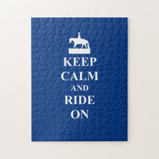 Keep calm & ride on (blue) jigsaw puzzle
