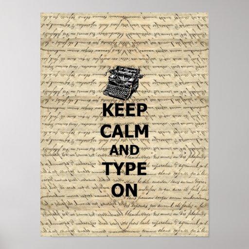 Keep calm & type on print