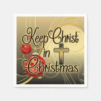 Keep Christ in Christmas, Gold/Red Christian Disposable Serviettes
