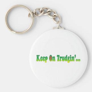 Keep On Trudgin Basic Round Button Key Ring