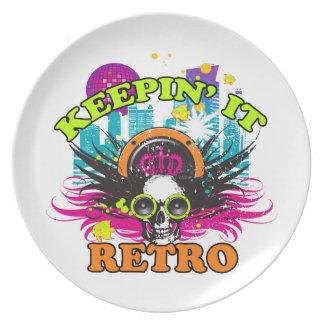Keepin It Retro Neon Disco Crown Skull Dinner Plates