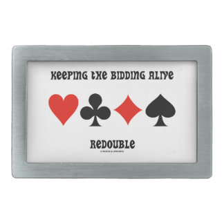 Keeping The Bidding Alive Redouble (Card Suits) Belt Buckle