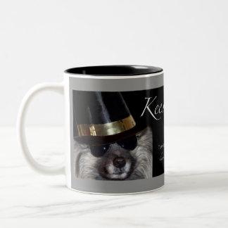 Keeshond coffee mug, Keesie Ray Two-Tone Coffee Mug
