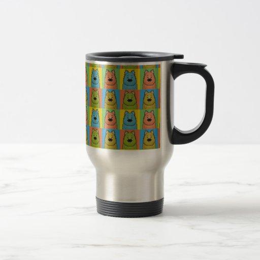 Keeshond Dog Cartoon Pop-Art Coffee Mugs