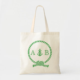 Kelly Green Nautical Rope and Anchor Monogram Tote Bag