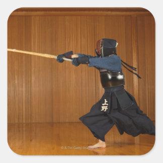 Kendo Fencer Practicing Square Sticker