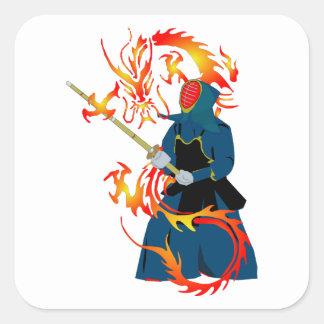 Kendo Swordsman and Fire Dragon Square Sticker