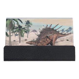 Kentrosaurus dinosaurs in the desert - 3D render Desk Business Card Holder