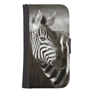 Kenya. Black & white of zebra and plain. Samsung S4 Wallet Case