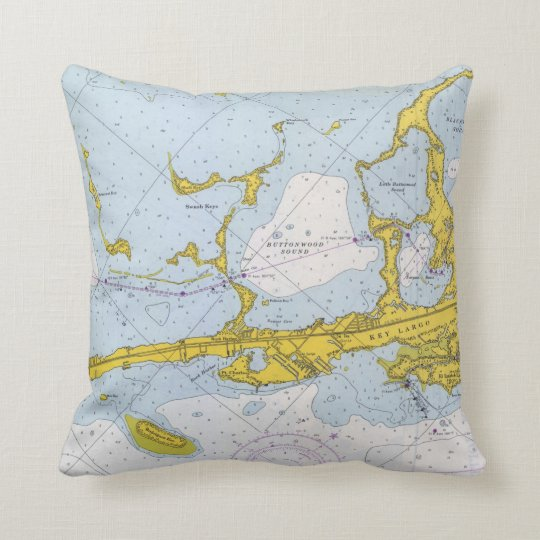 Key Largo nautical chart map Cushion