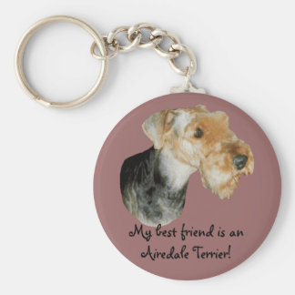 """Key supporter """"Airedale Terrier! 01 Basic Round Button Key Ring"""