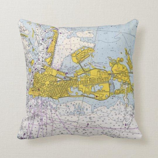 Key West Florida nautical chart map Cushion
