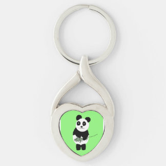 Keychain, heart-shape with Panda Bear Silver-Colored Twisted Heart Key Ring
