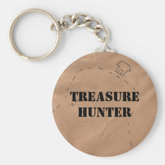Keychain: Treasure Hunter, on an Old Map Key Ring