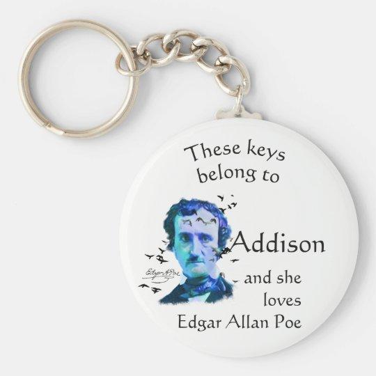 Keys Belong to Custom Name Loves Edgar Allan Poe Key Ring