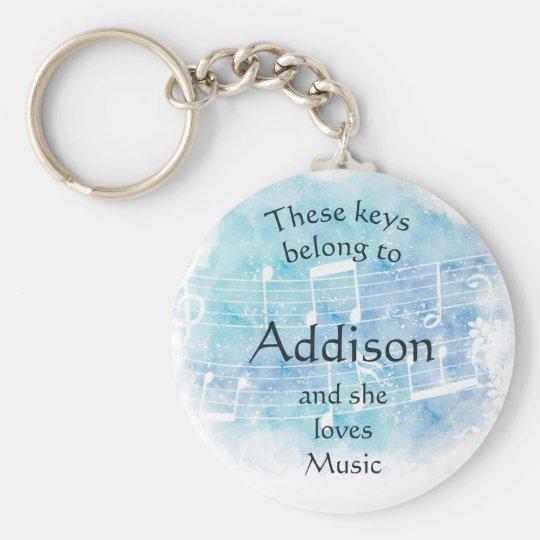 Keys Belong to Custom Name Loves Music Key Ring