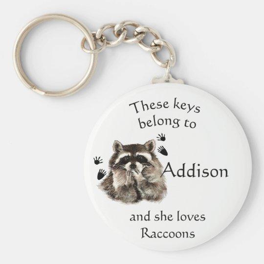 Keys Belong to Custom Name Loves Raccoons Key Ring