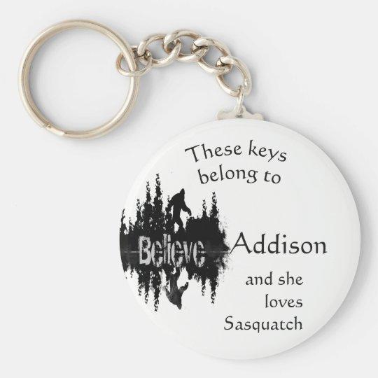 Keys Belong to Custom Name Loves Sasquatch Key Ring