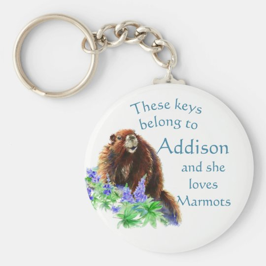 Keys Belong to Custom Name Loves the Marmot Animal Key Ring
