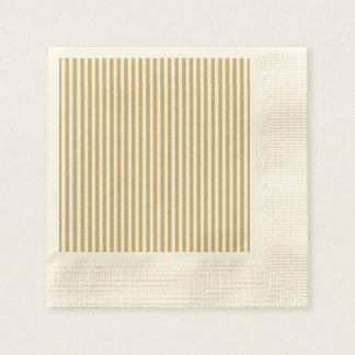Khaki Beige and White Cabana Stripes Disposable Serviette