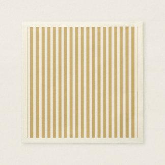 Khaki Beige and White Cabana Stripes Paper Napkins