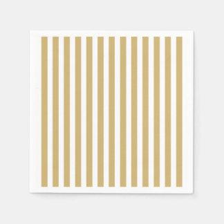 Khaki Beige and White Cabana Stripes Paper Serviettes