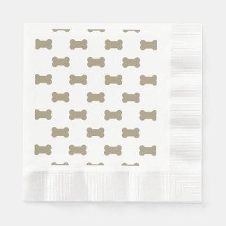 khaki Beige Dog Bones On Bright White Background Disposable Napkin