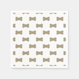 khaki Beige Dog Bones On Bright White Background Paper Napkin