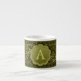 Khaki Chevron on Burlap with Monogram Espresso Cup