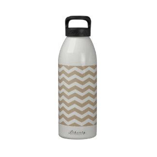 Khaki. Coffee Brown & White Zigzag Chevron Pattern Reusable Water Bottles