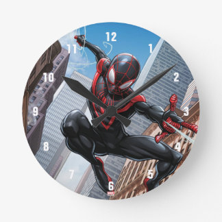 Kid Arachnid Web Slinging Through City Round Clock