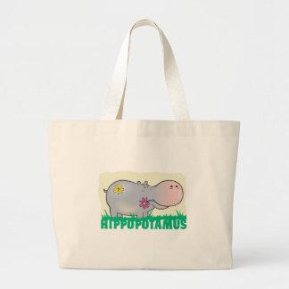 Kid Friendly Hippopotamus Large Tote Bag