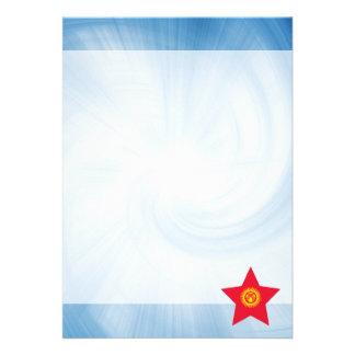 Kid Friendly Kyrgyzstan Flag Star 13 Cm X 18 Cm Invitation Card