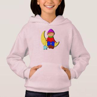 Kid on the moon girl's hoodie.