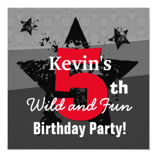 KIDS 5th Birthday Charcoal Red Grunge C5SA 13 Cm X 13 Cm Square Invitation Card