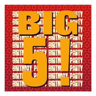 Kids 5th Birthday Five Year Old Modern Square 13 Cm X 13 Cm Square Invitation Card