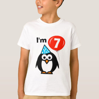 Kids 7th Birthday shirt with cute penguin cartoon