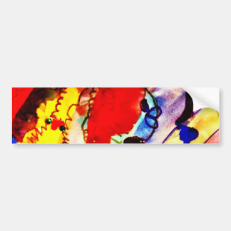 Kids Abstract Art Rainbow Fish in Colorful Sea Bumper Sticker