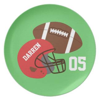 Kids American Football and Red Helmet Plate